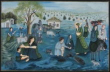 Traditional Indian art title Village Scene on Silk - Miniature Paintings