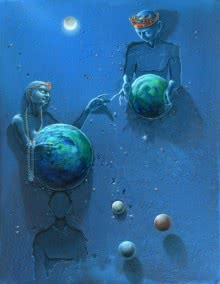 The Different Planets | Painting by artist Gopal Chowdhury | acrylic-oil | Canvas