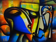Figurative Acrylic-charcoal Art Painting title Made For Each Other by artist Jagannath Paul