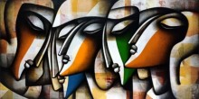 Figurative Mixed-media Art Painting title Togetherness 2 by artist Jagannath Paul