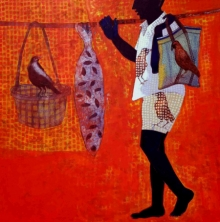 Figurative Acrylic Art Painting title Journey by artist Harshada Kolapkar