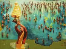 Religious Acrylic-oil Art Painting title Ganga Aarati by artist Sanjib Gogoi