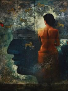 Mayabono Biharini Horini | Painting by artist Sanjib Gogoi | acrylic-oil | Canvas