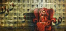 Figurative Acrylic-oil Art Painting title Monk On The Chair by artist Sanjib Gogoi