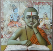 Religious Acrylic Art Painting title Pandit 1 by artist Sanjay Raut