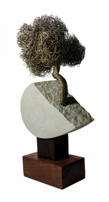 Srijan | Sculpture by artist Rajeev Ranjan | Stone, Brasswood
