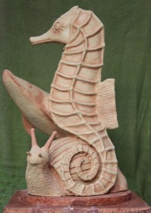 paper mache Sculpture titled 'Underwater' by artist Rajeev Ranjan