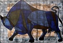art, painting, acrylic, canvas, animal, bull