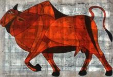 Bull 12 | Painting by artist Vijay Belde | acrylic | Canvas