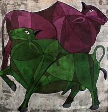 Bull 13 | Painting by artist Vijay Belde | acrylic | Canvas