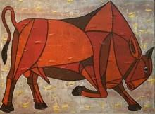 Bull 17 | Painting by artist Vijay Belde | acrylic | Canvas