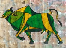 Bull 25 | Painting by artist Vijay Belde | acrylic | Canvas