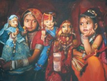 Toys Oil Art Painting title Cherubs Of Rajasthan by artist Jinal Gada Gala