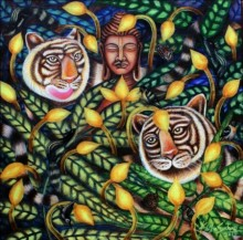 Religious Acrylic Art Painting title Compassion 2 by artist Kishore Sahoo