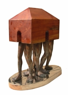 Homeless | Sculpture by artist Rakesh Sadhak | Wood, Bronze