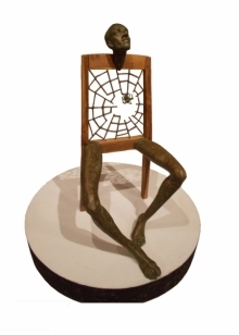Leisure Time 1 | Sculpture by artist Rakesh Sadhak | Wood, Fibre, Iron