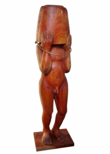 Rakesh Sadhak | Playboy Sculpture by artist Rakesh Sadhak on Wood | ArtZolo.com