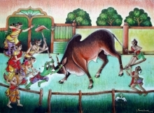 Religious Mixed-media Art Painting title Bull Fight by artist Anand Sonar