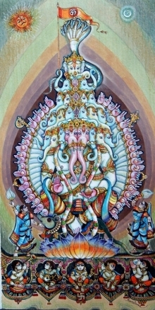 Religious Mixed-media Art Painting title Lord Ganesha 3 by artist Anand Sonar