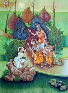 Religious Mixed-media Art Painting title Shakuntal by artist Anand Sonar