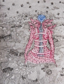 contemporary Mixed-media Art Drawing title 'Untitled 4' by artist Avijit Mukherjee