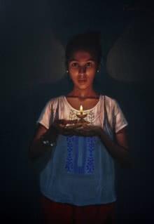 Figurative Pencil Art Drawing title 'Lighting The Dark' by artist Deepak Patil