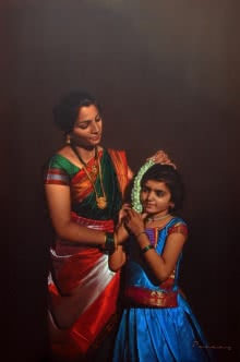 Pencil Paintings | Drawing title Mother And Child on Black Paper | Artist Deepak Patil