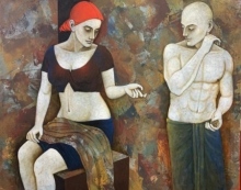 Figurative Acrylic Art Painting title 'Fervour' by artist Asit Kumar Patnaik