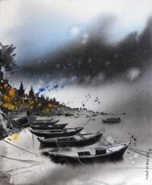 Banaras Boat 1 | Painting by artist Anand Bekwad | acrylic | Canvas