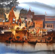 Cityscape Acrylic Art Painting title 'Banaras Evening Lights' by artist Anand Bekwad
