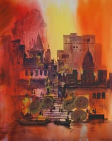 Cityscape Acrylic Art Painting title Banaras Ghat by artist Anand Bekwad