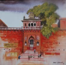Cityscape Acrylic Art Painting title Chet Singh Ghat by artist Anand Bekwad