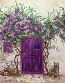 Shilpi Singh Patel | Oil Painting title The Purple Door on Canvas | Artist Shilpi Singh Patel Gallery | ArtZolo.com