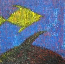 art, painting, mixedmedia, canvas, animal, fish