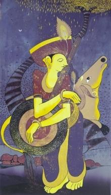 Madhav Joshi | Krishna Printmaking by artist Madhav Joshi | Printmaking Art | ArtZolo.com