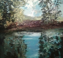 Landscape Acrylic Art Painting title 'Reflection' by artist Sachin Gaikwad