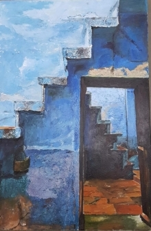 Landscape Acrylic Art Painting title 'Untitled 13' by artist Rajashree Sutar