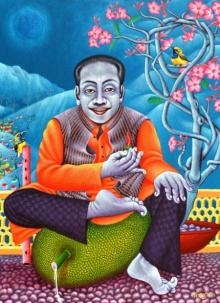 Figurative Acrylic Art Painting title A Man Sitting On A Jackfruit by artist Ramu Das