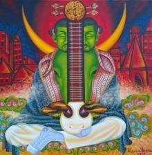 contemporary Acrylic-oil Art Painting title 'Easraj' by artist Ramu Das