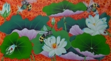 Ramu Das Paintings | Acrylic Painting - Lotus Pond 1 by artist Ramu Das | ArtZolo.com