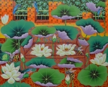 Ramu Das Paintings | Acrylic Painting - Lotus Pond 2 by artist Ramu Das | ArtZolo.com