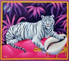 Animals Acrylic Art Painting title 'Moon' by artist Ramu Das