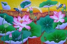 Ramu Das Paintings | Acrylic Painting - Morning Lotus Pond by artist Ramu Das | ArtZolo.com