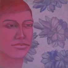 Figurative Acrylic-oil Art Painting title Face 1 by artist Partha Mondal