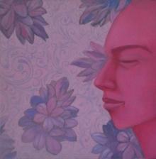Figurative Acrylic-oil Art Painting title Face 2 by artist Partha Mondal