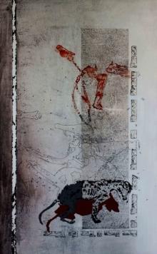 contemporary Acrylic Art Painting title 'Souvenir 2' by artist T Raju Gopalarao