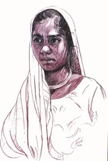 Portrait Charcoal Art Drawing title 'Incredible Tribal Beauty 17' by artist Sunil Paraji Tambe