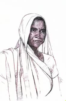 Portrait Charcoal Art Drawing title 'Incredible Tribal Beauty 18' by artist Sunil Paraji Tambe