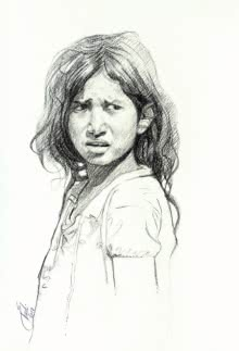 Portrait Charcoal Art Drawing title 'Incredible Tribal Beauty 19' by artist Sunil Paraji Tambe