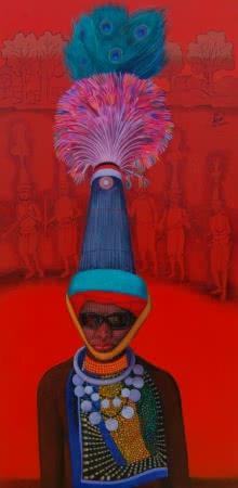 Figurative Acrylic Art Painting title 'Incredible Tribal Beauty 6' by artist Sunil Paraji Tambe